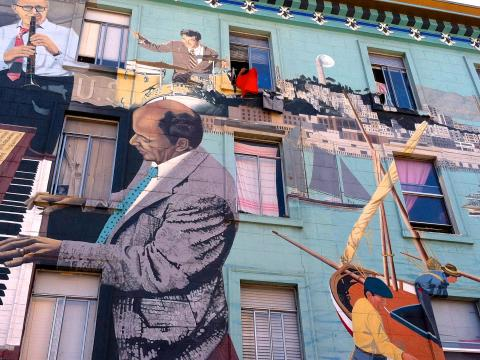 [Fresque murale dans le quartier italien de North Beach]