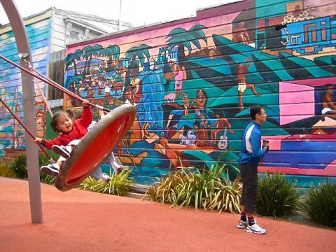 Air de jeux enfants avec fresques murales San Francisco