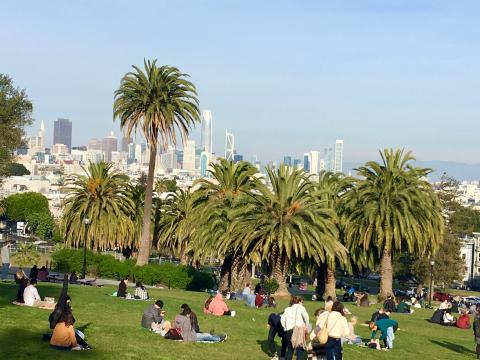 Photo : Dolores park avec vue sur Downtown San Francisco